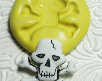 SCULL CROSSBONES Flexible Silicone Rubber Push Mold for Resin Wax Fondant Clay Ice