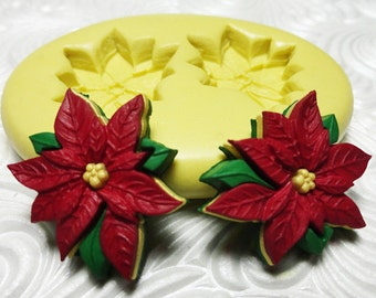 POINSETTIA HOLIDAY FLOWER Mold Silicone Rubber Push Mold for Resin Wax Fondant Clay Fimo Ice 1215
