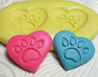HEART DOG PAWS Flexible Silicone Push Mold for Resin Wax Fondant Clay Fimo Ice 5204