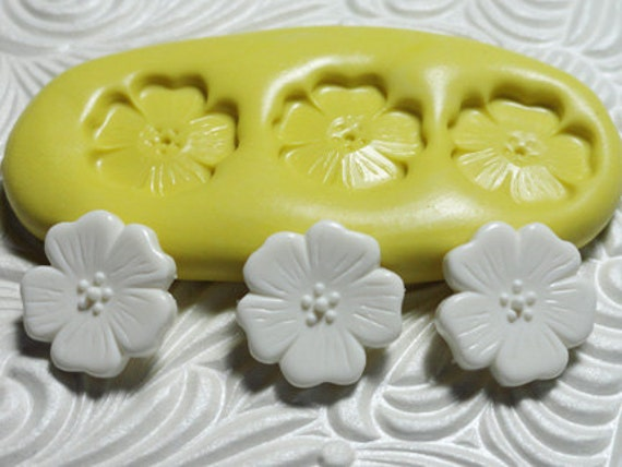 FLOWER CABOCHON TRIO Flexible Silicone Rubber Push Mold for Resin Wax Fondant Clay Ice
