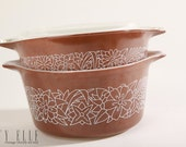Vintage PYREX Brown Woodland Serving Bowls Set of 2