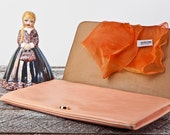 Vintage Peach Leather Nordstrom clutch Made in Italy & Free Gift with Purchase