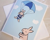 New Baby Boy Card - Baby Shower Card - Bunny Greeting Card