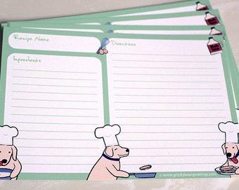 Cute Dog Recipe Cards - Golden Retriever - Yellow Lab 4x6 Card (Set of 10)