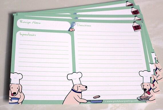 Cute Dog Recipe Cards Golden Retriever Yellow Lab 4x6 Card