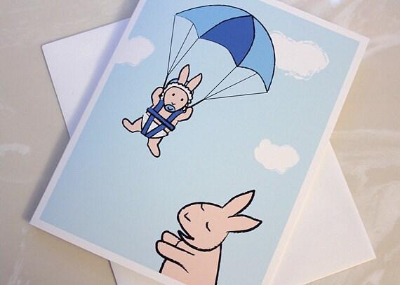 New Baby Boy Card - Baby Shower Card - Bunny Greeting Card