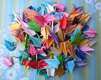 50 Multicolored Japanese Origami Cranes Paper Cranes Origami Paper Cranes