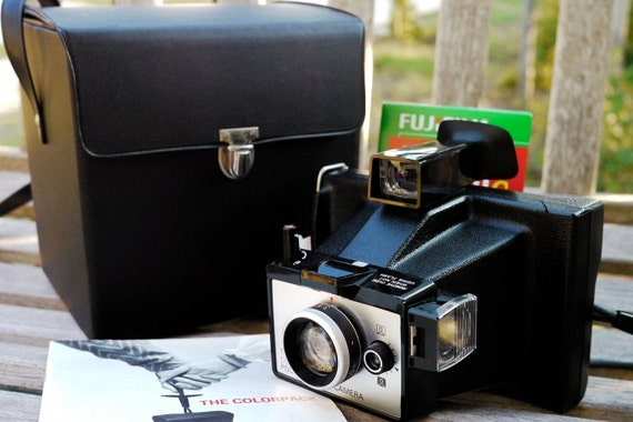 SALE: Working Polaroid Colorpack Vintage Camera Instant Photo with Film, Batteries, Case, Manual, and Cold-clip