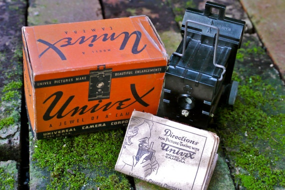 1930s Univex Model A Miniature or Subminiature 00 Film Camera with Original Box and Instructions