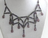 Crystal Web in AMETHYST Purple- Exclusive Signature Necklace/Circlet in new and vintage crystal Signed by Jeanie Schelgel