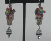 Calavera CATRINA Dia de Los Muertos folk art earrings with vintage flowers, beads and Swarovski