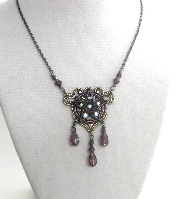 GYPSY in AMETHYST Purple - Exclusive hand enameled pentacle on vintage brass with Swarovski SIGNED