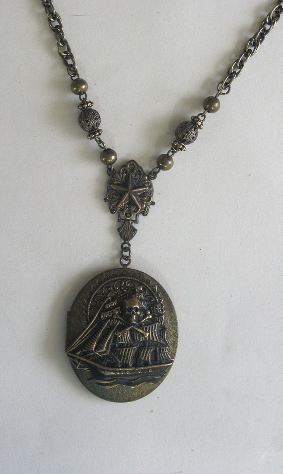 Spanish Mercenary - Signed vintage brass men's Pirate Ship LOCKET with rope chain OOAK