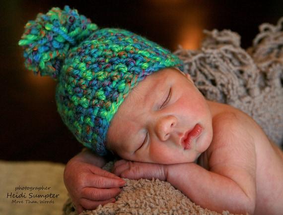 Crochet Hat Preemie NEWBORN Baby Girl BABY Boy, Beanie with Pom Pom colorful, baby clothes, baby photo prop Ready To Ship