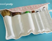 Makeup and Cosmetic Brush Holder in Midwest Modern Honeycomb Linen by Amy Butler