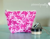 Small Makeup and Cosmetic Bag in Hot Pink Scrolls