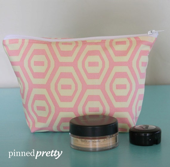 6 Small Makeup and Cosmetic Bag in Midwest Modern Honeycomb Linen with Monogram - CUSTOM LISTING FOR Kate