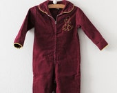 Vintage Maroon Corduroy Poodle Jumpsuit (18-24 months)