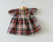 Vintage Red and Green Plaid Smock Dress (3-6 months)