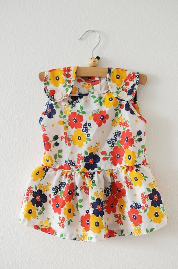 Vintage Vibrant Floral Dress (12 months)