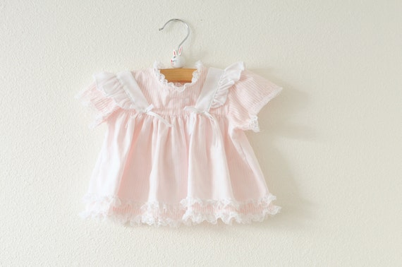 Vintage Pink and White Striped Pinafore Dress (3-6 months)