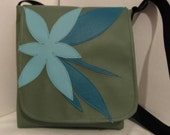 Messenger iPad Daily Planner Vinyl Blue Bag with Modern Flower and Leaf Appliqué