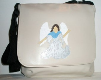 Large Messenger Vinyl Baby Bag, Side Satchel in Creme Color with an Angel