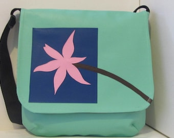 Large Messenger Vinyl Baby Bag, Side Satchel in Mint Green with Pink Flower on a Blue Square