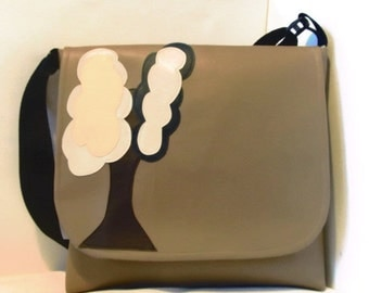 Large Messenger Vinyl Baby Bag, Side Satchel in Tan with a Modern Tree