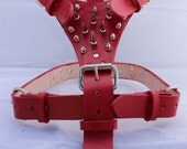 Red Large Leather Dog Harness with Spikes