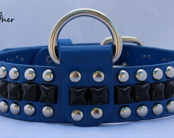 Blue Leather Dog Collar with Pyramid Studs