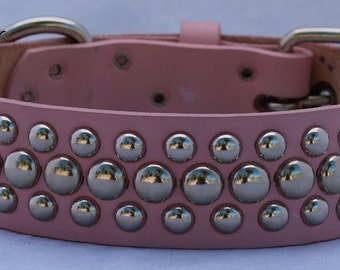 Light Pink Leather Dog Collar with Circle Studs