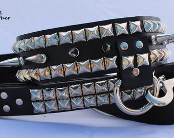 Long Spiked Leather Dog Collar with Studs with Matchin Leash