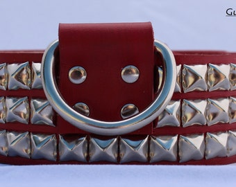 Red Leather Dog Collar with Pyramid Studs