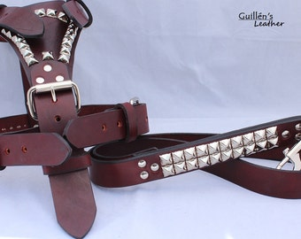 Burgundy Large Leather Dog Harness with Pyramids and Leash