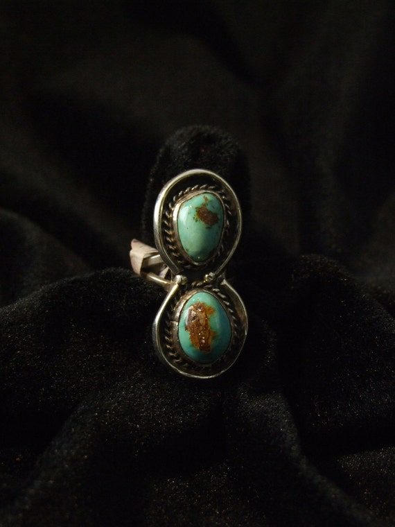 Navajo 2 stone silver turquoise ring