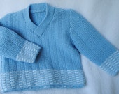 Vintage Inspired Hand Knitted Baby Boy V Neck Sweater 3-6M  in Merino Baby Wool Soft Blue and White Trim