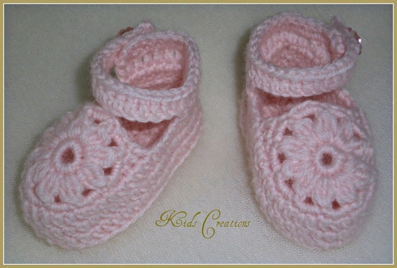 Crocheted Mary-Jane style shoe baby booties to fit NB to 12M in custom colour choice Made to Order
