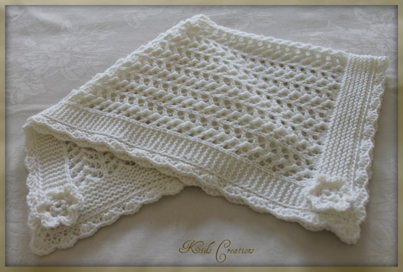 Hand Knitted White Merino Wool Baby Pram Blanket with crocheted edge Ready to Ship