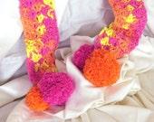 Multi-color Crochet Lace PomPom Designer Scarf