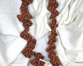 Designer Orange Mix Crochet Lace Corkscrew Scarf