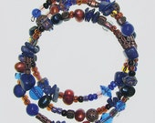 Blue & Copper Lapis and Pearl Beaded Memory Bracelet