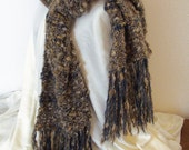 Bulky Earthtone Blue Designer Shawl with Bead and Fringe Accents
