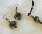 Green and Brown Ceramic Earrings with Copper Accents