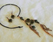 Green and Brown Ceramic Pendant and Earring Set with Copper Accents