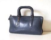 1970s Vintage COACH NYC Navy Blue Speedy Top Handle Brief Bag