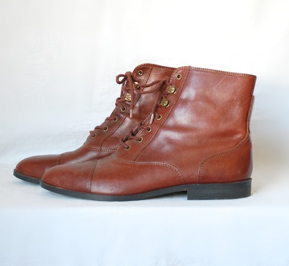 7 5 vintage cognac brown lace up ankle boots by