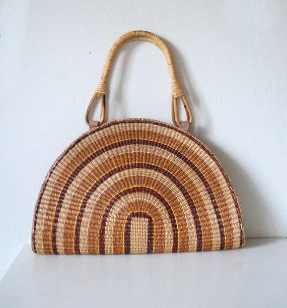 Vintage 70s Woven Sunshine Beach Bag