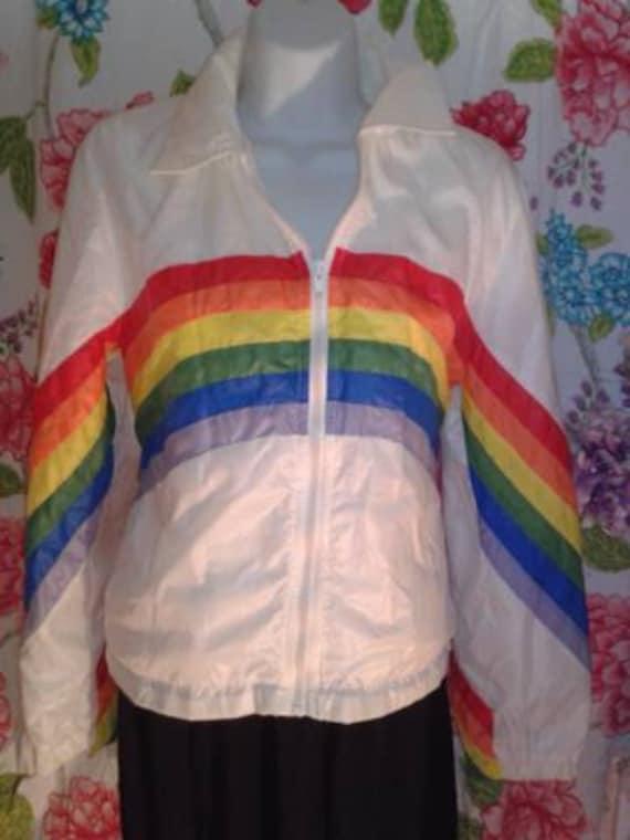 Womans Vintage Rainbow Windbreaker Jacket