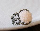 Vintage Style Jelly Blush Pink Flower on Antiqued Brass Filigree Ring 14mm - Adjustable